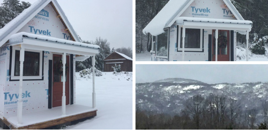 Tiny House on the Hill Snow Pics